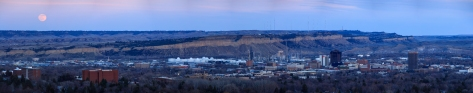Billings Downtown Moonrise Pano