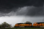Burlington Northern taking on the storm